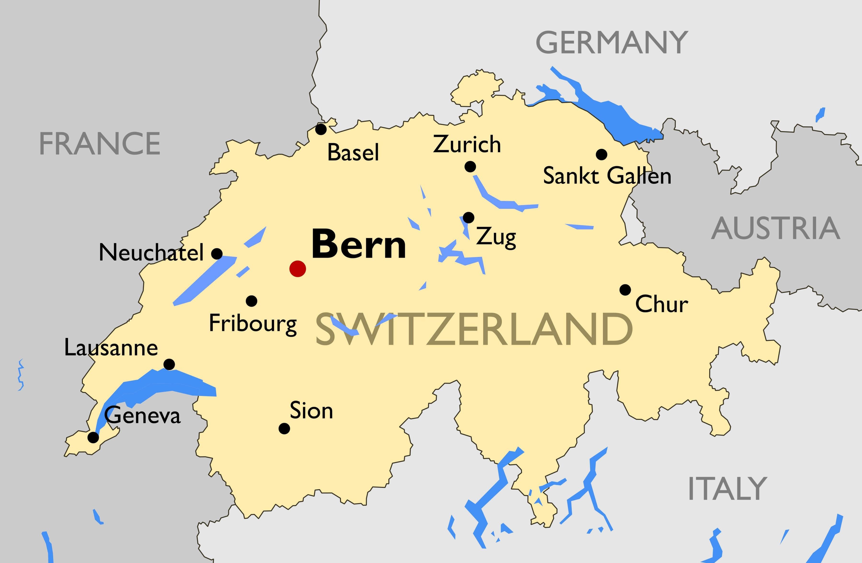 Szwajcaria Mapy Miast Mapa Szwajcarii Z Duzych Miast Europa